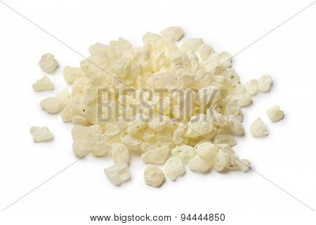 Heap of mastic tears of Chios on white background