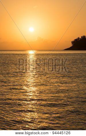 Beautiful Tropical Sunset Ocean Background