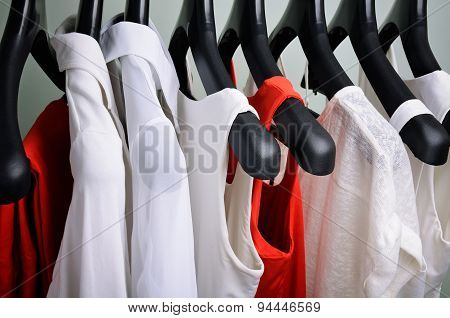 White And Coral Womens Clothing Hanging Horizontal