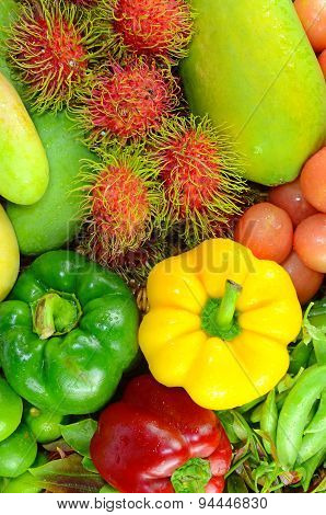 Colorful Asian Fruit and Vegetable.