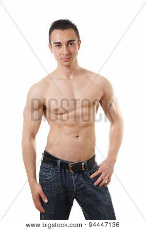 shirtless man with toned body