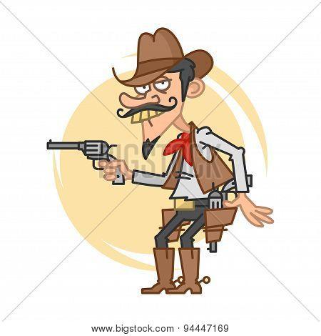 Funny cowboy with gun