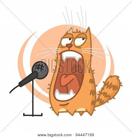 Red cat yells into microphone