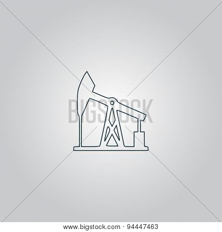Oil derrick. Black vector icon.