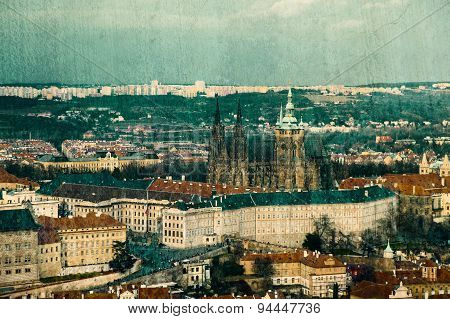 Vintage Postcard With Prague Castle