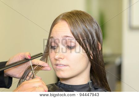 Young Woman Having A New Hairstyle