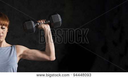 Fitness , Woman Workout with Dumbell Closeup