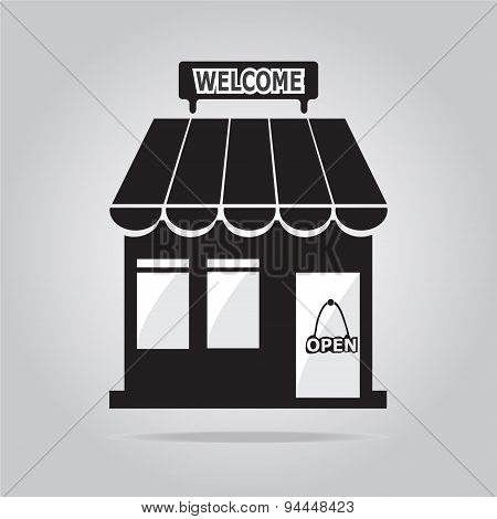 Shop Building With Welcome Sign Illustration