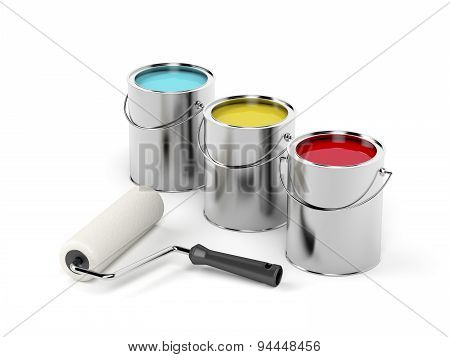 Paint Roller And Paint Canisters