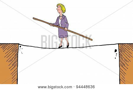 Businesswoman on Tightrope