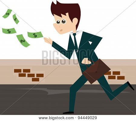 Businessman running after money bills.
