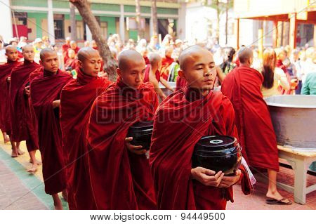 Monks In Mahagandayone Monastery