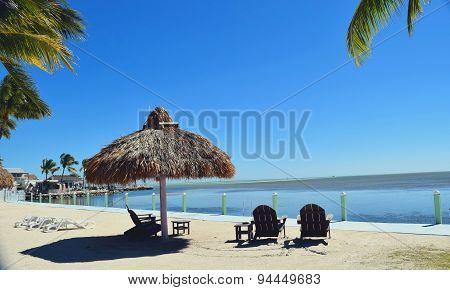 Florida Beach with Tiki Hut