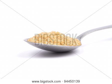 Brown Cane Sugar On Spoon