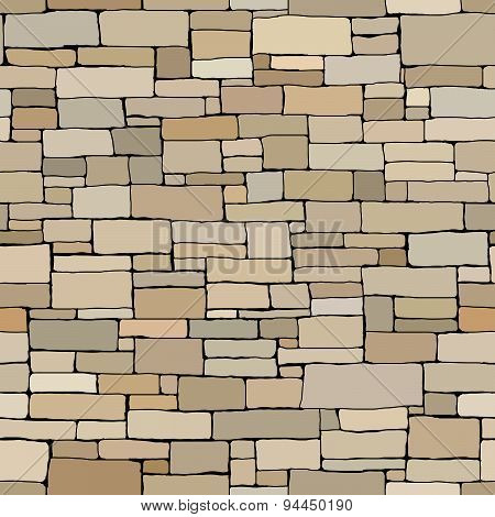 Seamless Colored Background Wall Of Rectangular Bricks.