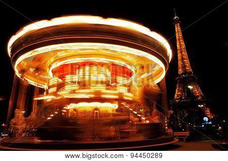 Carousel Near Eiffel Tower