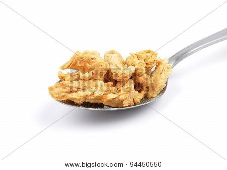 Soy Granules On Spoon