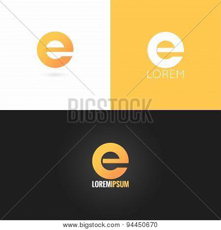 letter E logo design icon set background