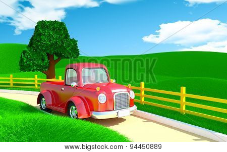 red old truck with farm field