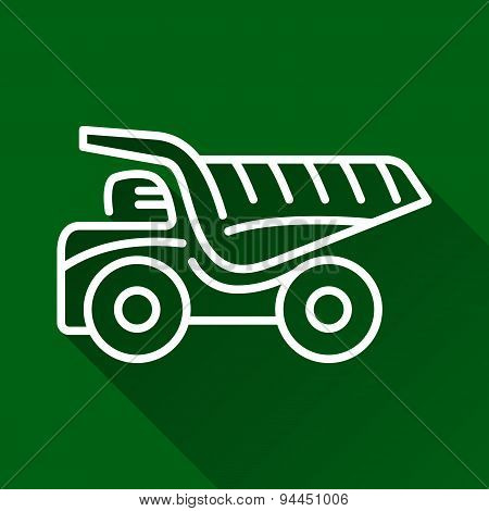 Mining Dump Truck Flat Line Icon
