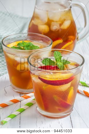 Two Glasses Of Refreshing Homemade Nectarine Iced Tea