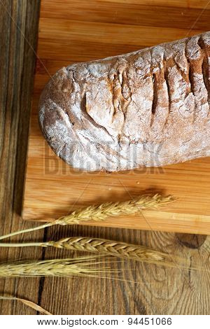 Rye baked baked on table