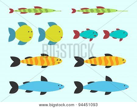Cute Vector Fishes Set