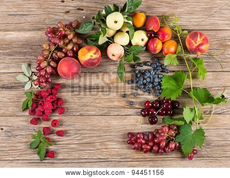 Fresh Fruit And Berries In A Frame