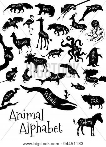 Animal alphabet poster for children. Animal silhouettes with names and letters inside. Poster concep