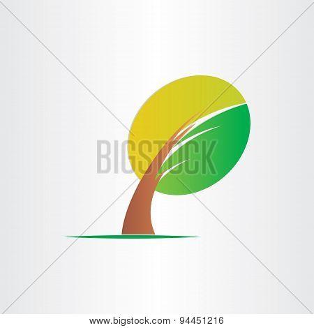 Bended Tree Eco Icon Design