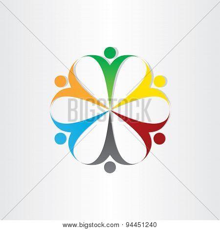 Circle Icon People Teamwork Symbol