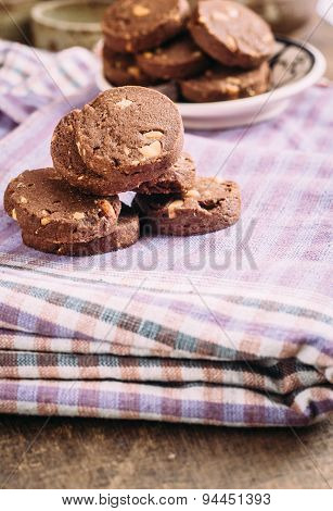 Chocolate and hazelnuts cookies  on cloth