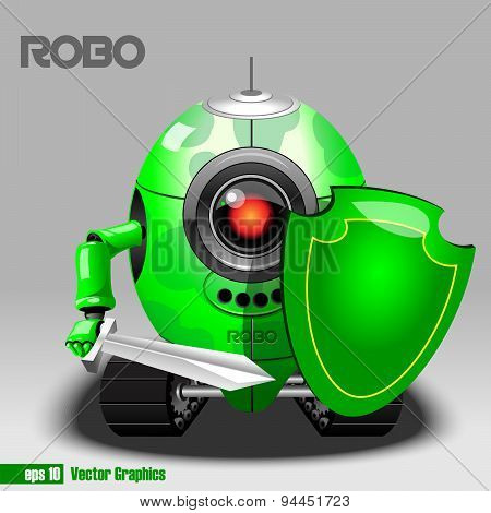 Security Robot. Vector Illustration.