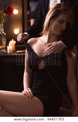 Male Touching Woman Breast