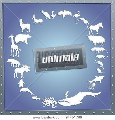 Concept blue poster for boys with animals silhouettes around with text inside.