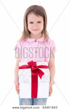 Holiday Concept - Cute Little Girl With Gift Box Isolated On White