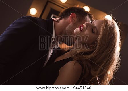 Lover Kissing Neck Of Woman