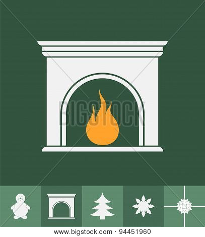 Fireplace and Winter Icons