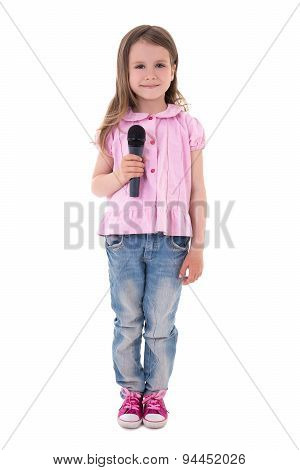 Cute Little Girl With Microphone Isolated On White