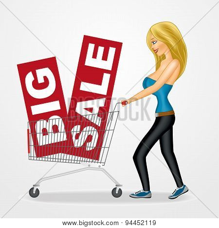 woman pushing a shopping cart with sale banners