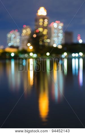 City night lighs with water reflection