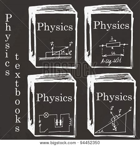Set Of Physics Textbooks On School Board. Freehand Drawing. Physics Elements