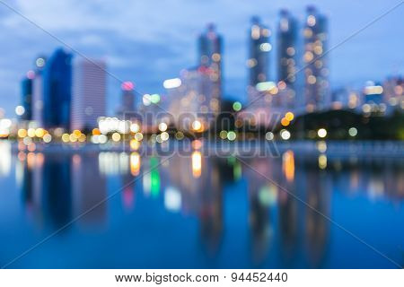 Abstract blur bokeh city night lights background