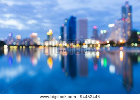 Twilight of city lights nigh abstract blur bokeh background