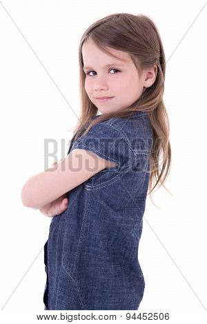 Funny Cute Little Girl In Denim Dress Isolated On White