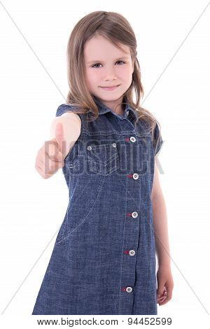 Cute Little Girl In Denim Dress Thumbs Up Isolated On White
