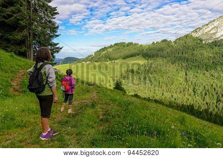Two Women Look At The Mountain