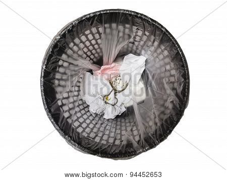 Pocket Watch In Refuse Bin.