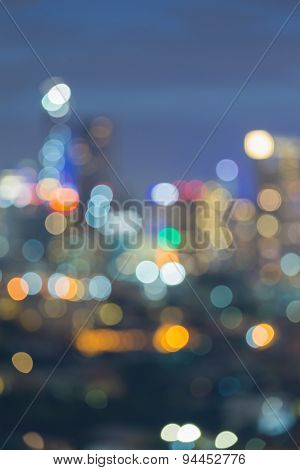 Abstract blurred background with the district of Bangkok city