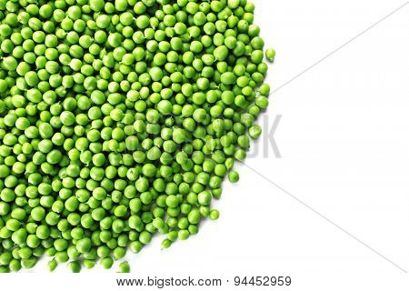 Heap of fresh green peas isolated on white